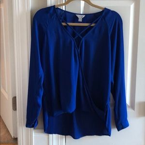 Cobalt blue blouse with strappy front